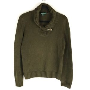 LRL toggle button waffle knit sweater green L/S